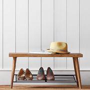 Furniture, Shelf, Table, Sofa tables, Shelving, Iron, Footwear, Wood, Coffee table, Rectangle,