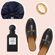 luggage, silk hair wrap, gold band, epara serum, watch, roses, master and dynamic earbuds, loafers, tom ford perfume
