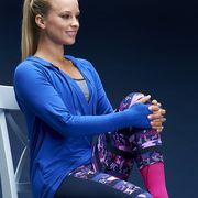 Sleeve, Elbow, Electric blue, Wrist, Blond, Glove, Ball, Bracelet, Tights, Leggings,