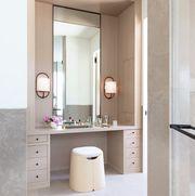 built in bathroom vanity in formal bathroom
