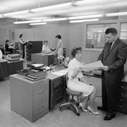 office scene in chicago, ca 1958
