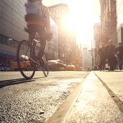 manhattan motion blurred rush hour
