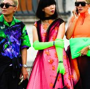 Clothing, Green, Fashion, Sari, Pink, Magenta, Fashion design, Fun, Textile, Street fashion,
