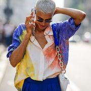 Street fashion, White, Blue, Eyewear, Cobalt blue, Fashion, Yellow, Electric blue, Sunglasses, Glasses,