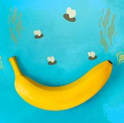 banana with illustrated background of fumes