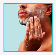 composite of man washing his face
