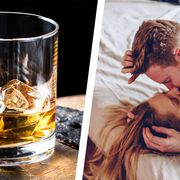 """a diptych showing a glass of whiskey and a couple kissing in bed, representing """"whiskey dick"""""""