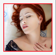 a diptych of a vibrator and a woman lying in bed with her eyes clothes