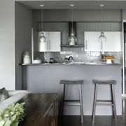 Room, Furniture, Countertop, Interior design, Property, Kitchen, Building, Floor, Cabinetry, Black-and-white,