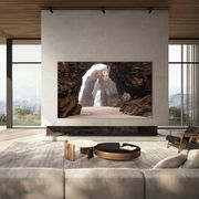 samsung microled on wall with neutral indooroutdoor living space