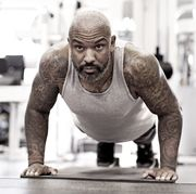 middle aged bearded black man at a gym