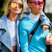 Eyewear, Glasses, Vision care, Sleeve, Sunglasses, Shirt, Collar, T-shirt, Street fashion, Goggles,