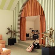 music room with orange curtains