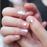 Manicure, Nail, Nail polish, Nail care, Finger, Cosmetics, Service, Hand, Material property, Peach,