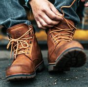 Footwear, Shoe, Brown, Tan, Boot, Hiking boot, Human leg, Jeans, Ankle, Durango boot,