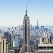 New York skyline on a sunny day with clear blue sky