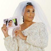 Skin, Veil, Wedding dress, Bride, Dress, Headpiece, Bridal clothing, Photography, Gown, Bridal veil,