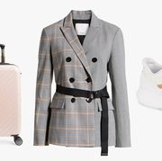 Clothing, White, Beige, Outerwear, Coat, Overcoat, Formal wear, Trench coat, Jacket, Suit,