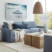 Living room, Furniture, Room, Interior design, Blue, Property, Wall, Couch, Table, Lighting,