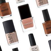 Nail polish, Cosmetics, Beauty, Product, Red, Nail care, Brown, Beige, Nail, Orange,