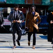 People, Street fashion, Pedestrian, Suit, Fashion, Snapshot, Street, Human, Footwear, Urban area,