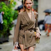 Street fashion, Clothing, Fashion, Fashion model, Outerwear, Coat, Shoulder, Trench coat, Blazer, Dress,