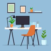 creative workplace with computer monitor empty no people cabinet modern office furniture flat