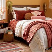 Bed, Bed sheet, Bedding, Furniture, Bedroom, Room, Duvet cover, Pillow, Orange, Bed frame,