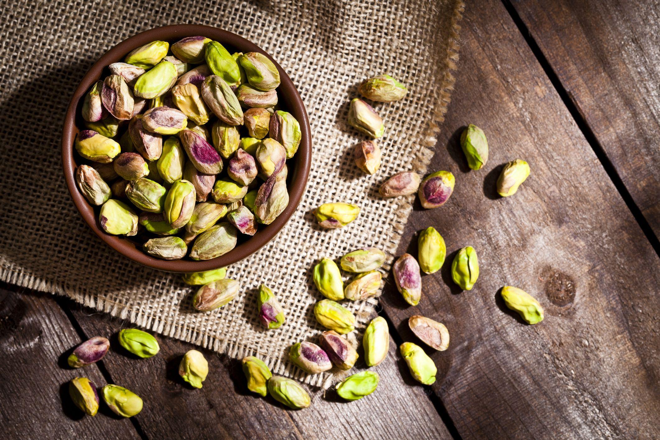 Organic pistachios still life
