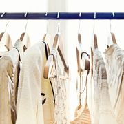 Clothes hanger, White, Closet, Boutique, Room, Wardrobe, Laundry, Footwear, Dry cleaning, Fashion design,