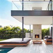 modern backyard with outdoor fireplace