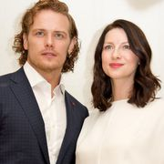 beverly hills, ca   april 01  sam heughan and caitriona balfe at the outlander press conference at the four seasons hotel on april 1, 2016 in beverly hills, california  photo by vera andersonwireimage