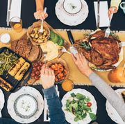 overhead view of table during christmas dinner