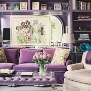 Living room, Room, Furniture, Purple, Couch, Interior design, Lilac, Violet, Home, Building,