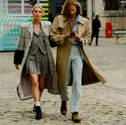 Street fashion, Clothing, Fashion, Snapshot, Coat, Trench coat, Street, Outerwear, Human, Infrastructure,
