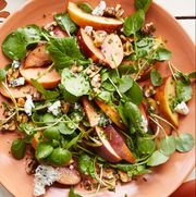 summer salads   peach blue cheese and walnut salad
