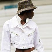 White, Street fashion, Fashion, Dress shirt, Shirt, Sleeve, Outerwear, Headgear, Sun hat, Hat,