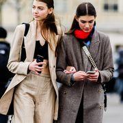 Street fashion, Fashion, Clothing, People, Coat, Outerwear, Snapshot, Overcoat, Street, Neck,