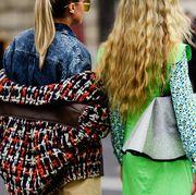 Street fashion, Hair, Clothing, Fashion, People, Eyewear, Hairstyle, Yellow, Outerwear, Glasses,