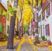 philadelphia, pennsylvania, usa autumn neighborhood streets