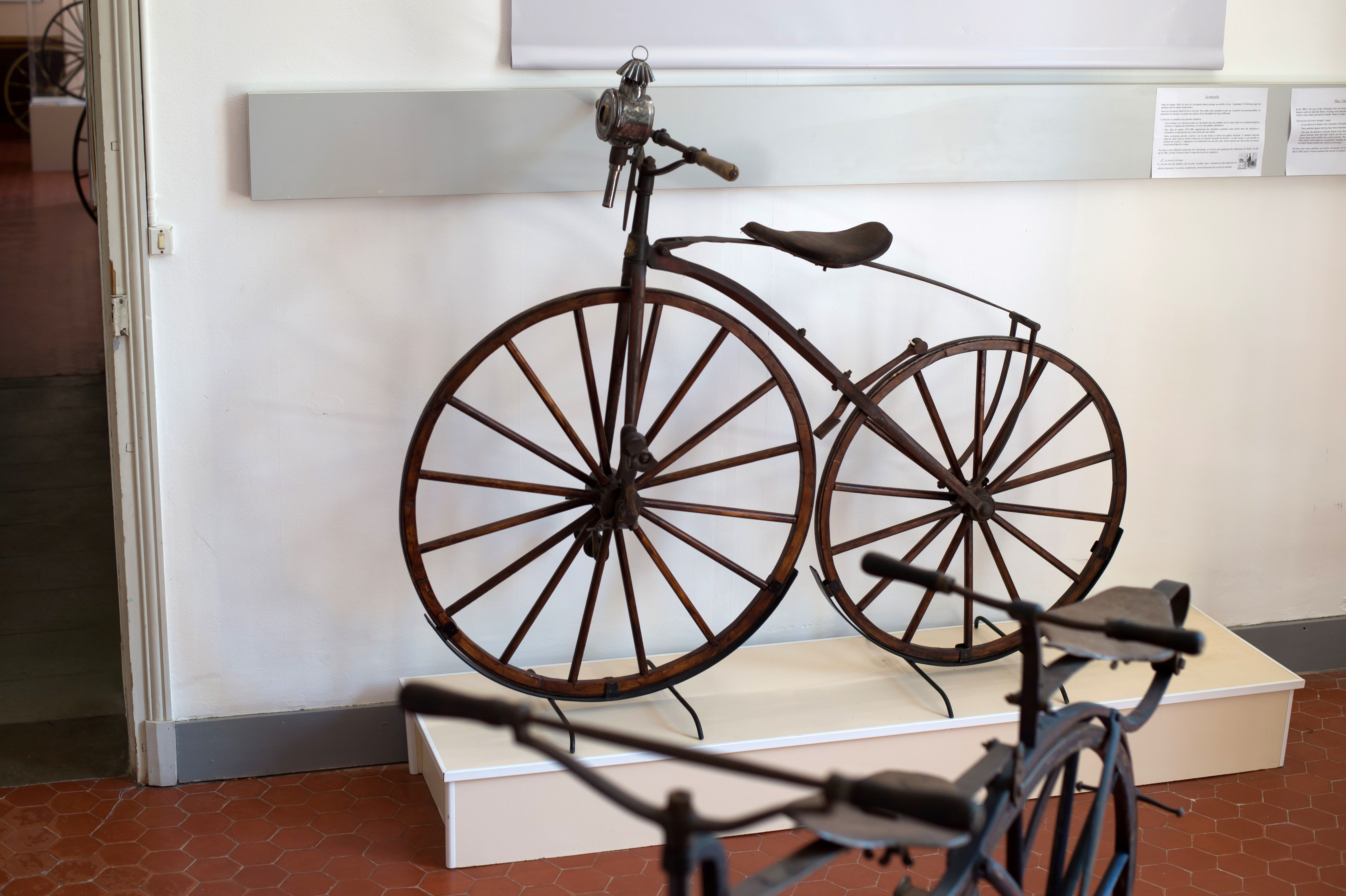 A picture taken on June 22, 2017 shows old bicycles at the museum of the bicycle and the motorcycle in Domazan, southern France.