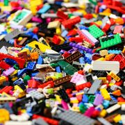 Pieces of lego displayed during the exhibition at Alexandra...