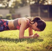Plank position for strong legs, back and abs