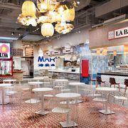 Building, Interior design, Architecture, Furniture, Room, Lobby, Table, Restaurant, Interior design,
