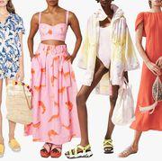 Clothing, Fashion model, Dress, Day dress, Fashion, Pink, Shoulder, Fashion design, Footwear, Peach,