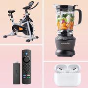 frame tv, workout bike, blender, airpods, amazon firestick, bodum coffee maker, air fryer