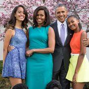 malia, michelle, barack, and sasha obama in 2015
