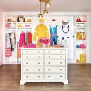 Room, Pink, Chest of drawers, Furniture, Interior design, Wall, Shelf, Drawer, Building, Wallpaper,