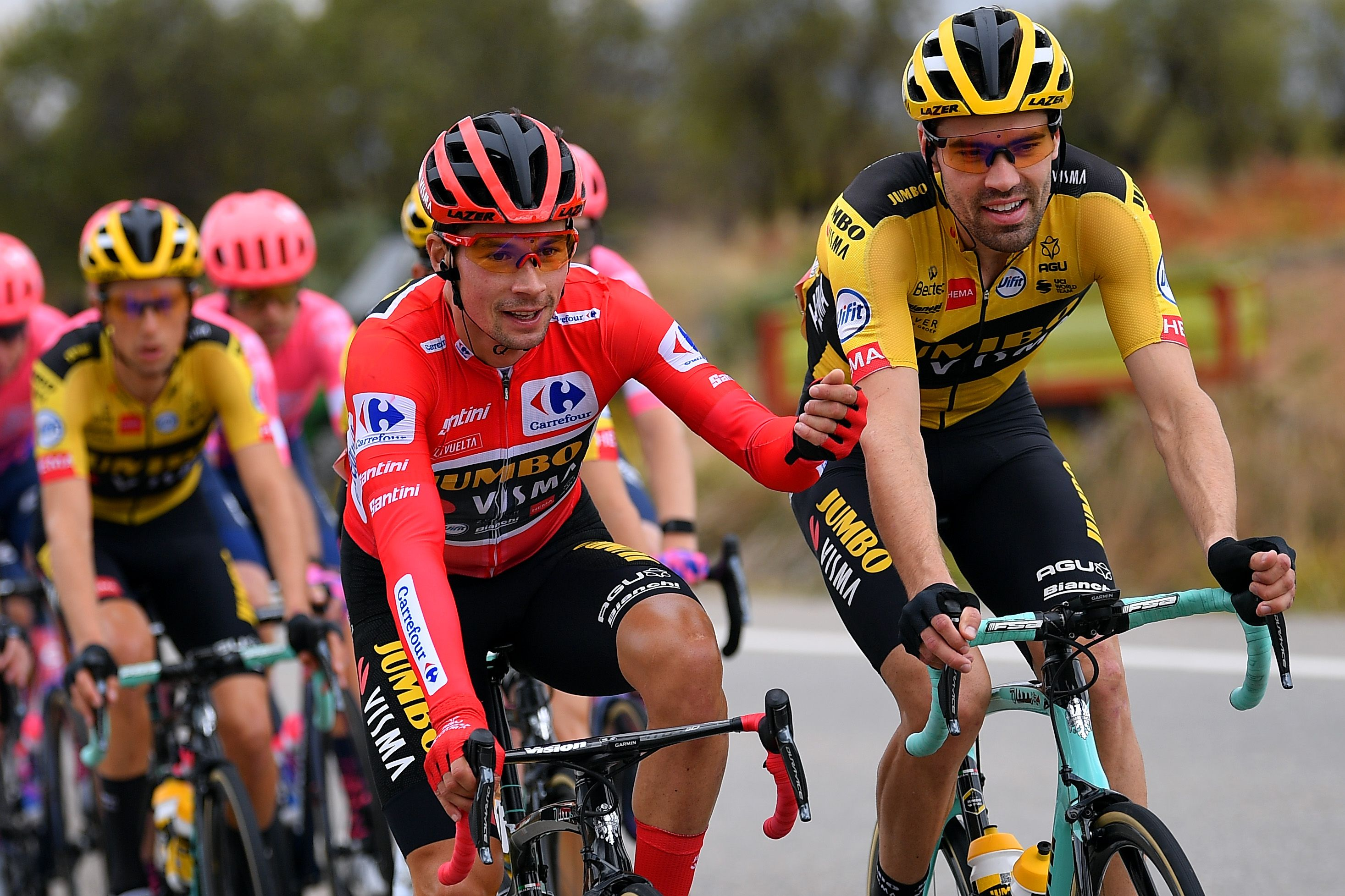 Primož Roglič (left) and Tom Dumoulin during Stage 3 of the 2020 Tour of Spain.