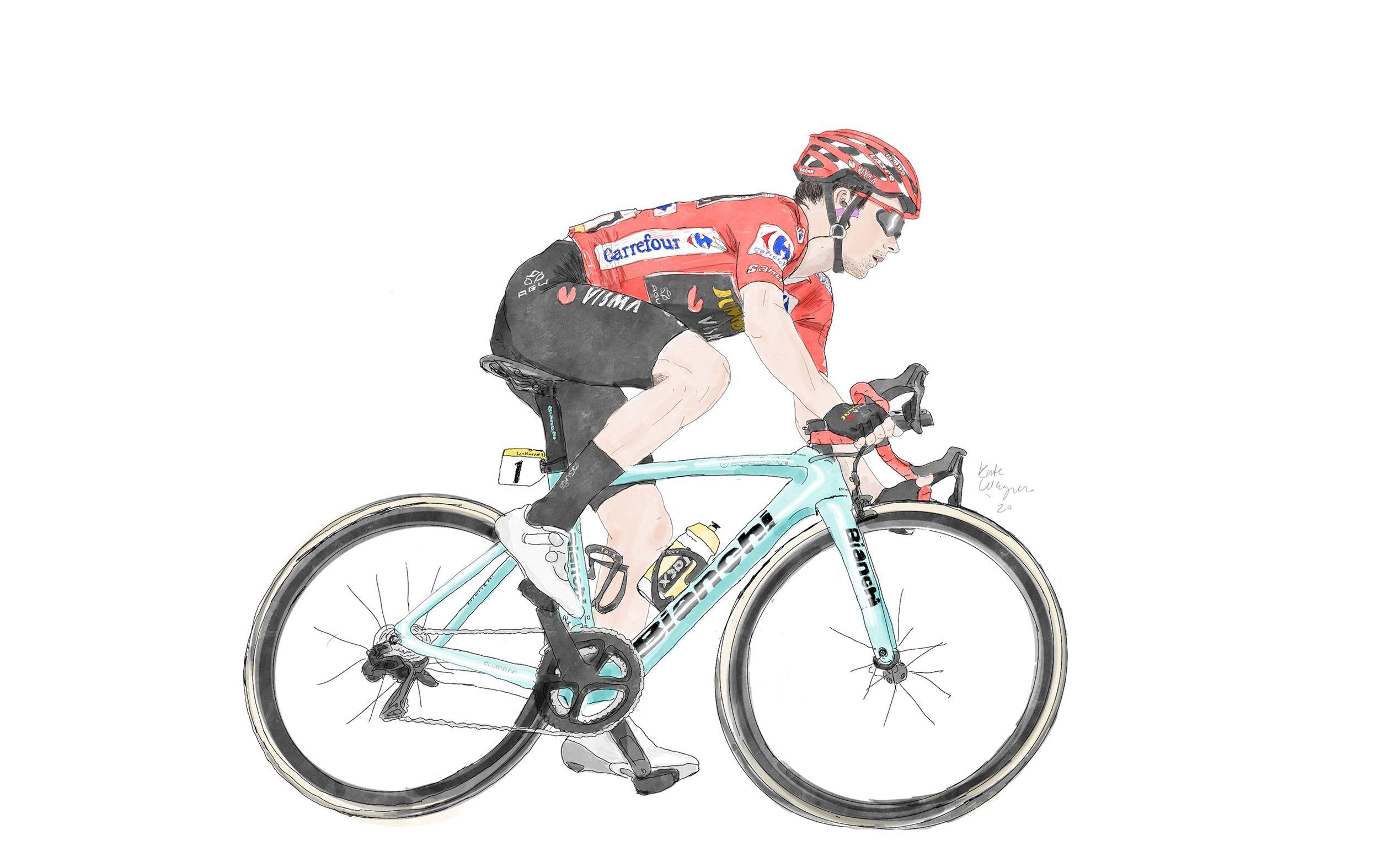In the 2020 Vuelta a España leader's jersey.